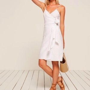 NWT Reformation Lucilia Wrap Dress Mini White